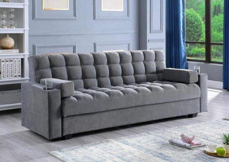 IF 9300 - Sofa Bed with Storage Grey - Canapé Lit Gris
