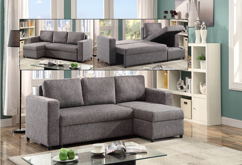 IF 9410 - Sofa bed Reversible Left or Right  - Grey Fabric / Canapé-lit réversible gauche ou droit - Tissu gris