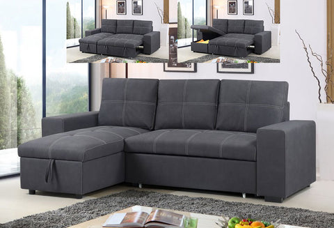 IF 9418 - Sofa bed Reversible Left or Right  - Grey Fabric / Canapé-lit réversible gauche ou droit - Tissu gris