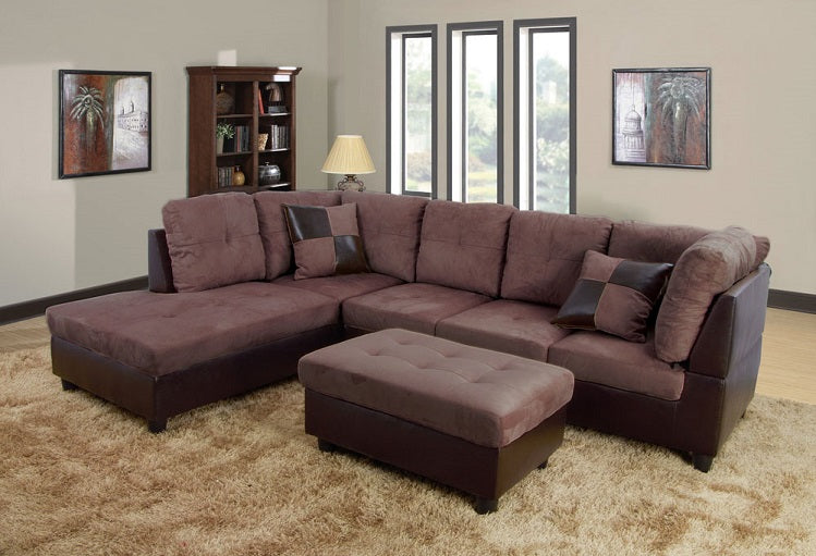 IF 9425 / IF 9426 - Sectional sofa Reversible Left or Right - Brown Fabric / Canapé Sectionnale réversible gauche ou droite - Tissu marron