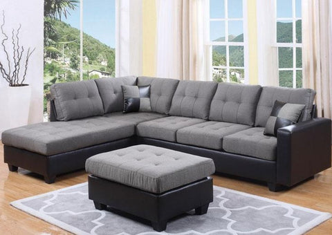 IF 9435 / IF 9436 - Sectional Sofa - Reversible Left or Right - Grey Fabric /  Sofa sectionnel - réversible gauche ou droit - tissu gris /