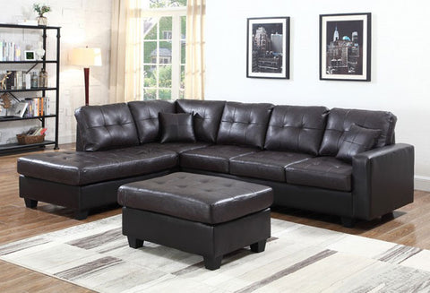 IF 9440 / IF 9441 - Sectional Sofa - Reversible Left or Right - Brown PU / Sofa sectionnel - réversible gauche ou droit - Simili Cuir Noir
