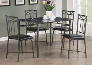 I 1036-DINING SET - 5 PCS SET / GREY MARBLE / CHARCOAL METAL