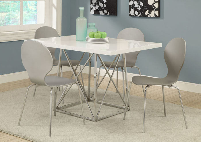 "I 1046-DINING TABLE ONLY- 36""X 48"" / WHITE GLOSSY / CHROME METAL"
