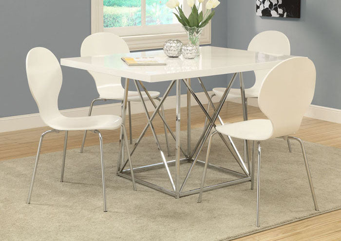 "DINING CHAIR - 4PCS / 34""H / WHITE BENTWOOD WITH CHROME"