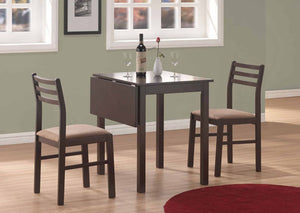 I 1078-DINING SET - 3PCS SET / CAPPUCCINO SOLID-TOP DROP LEAF