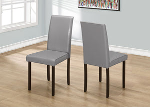 "DINING CHAIR - 2PCS / 36""H GREY LEATHER-LOOK"