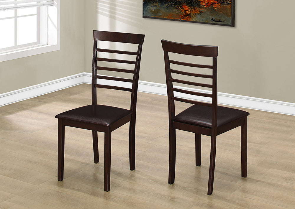 "DINING CHAIR - 2PCS / 37""H CAPPUCCINO / DARK BROWN SEAT"