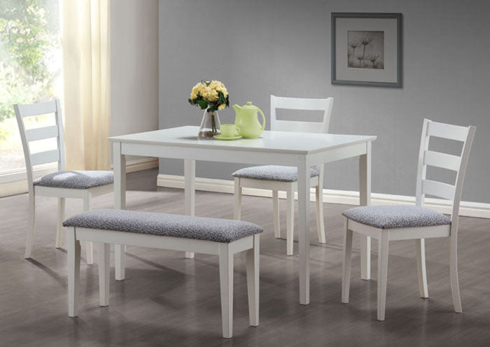 I 1210-DINING SET - 5 PCS SET / WHITE BENCH AND 3 SIDE CHAIRS
