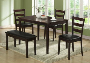 I 1211-DINING SET - 5 PCS SET / CAPPUCCINO BENCH & 3 SIDE CHAIRS