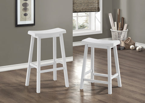 "BARSTOOL - 2PCS / 24""H / WHITE SADDLE SEAT"