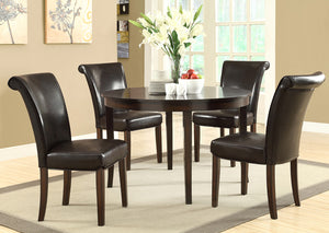 "DINING CHAIR - 2PCS / 39""H / DARK BROWN LEATHER-LOOK"