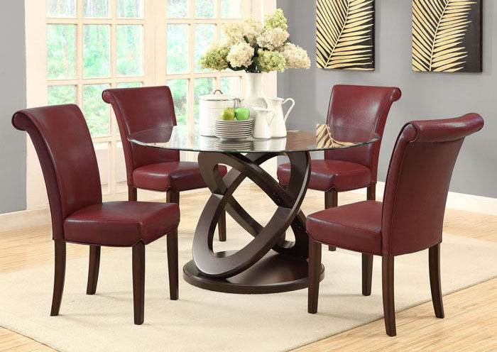 "DINING CHAIR - 2PCS / 39""H / BURGUNDY LEATHER-LOOK"