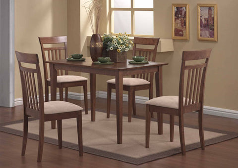 I 1720-DINING SET - 5 PCS SET / WALNUT FINISH - ENSEMBLE À MANGER - ENSEMBLE 5 PCS / FINI NOYER