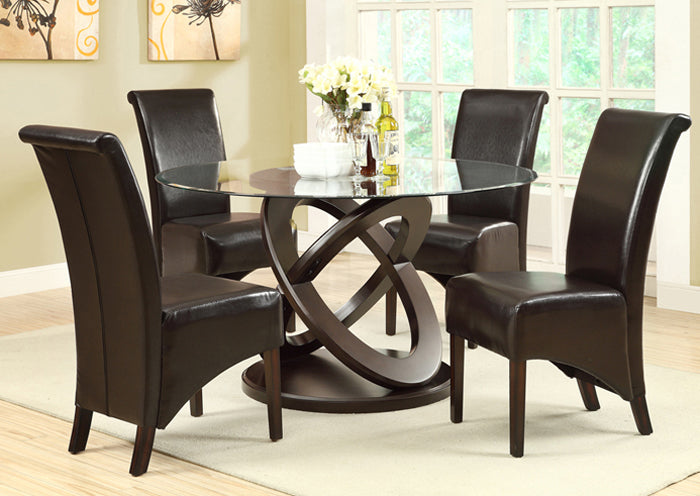 "DINING CHAIR - 2PCS / 40""H / DARK BROWN LEATHER-LOOK"