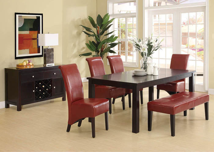 "DINING CHAIR - 2PCS / 40""H / BURGUNDY LEATHER-LOOK"