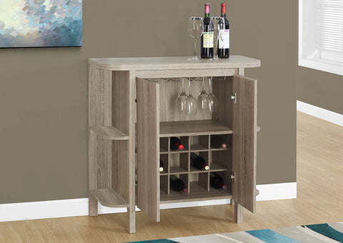 "HOME BAR - 36""H /DARK TAUPE WITH BOTTLE AND GLASS STORAGE"
