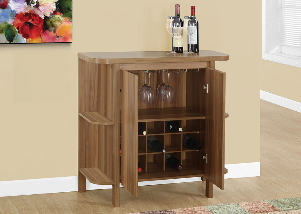 "HOME BAR - 36""H / WALNUT WITH BOTTLE AND GLASS STORAGE"