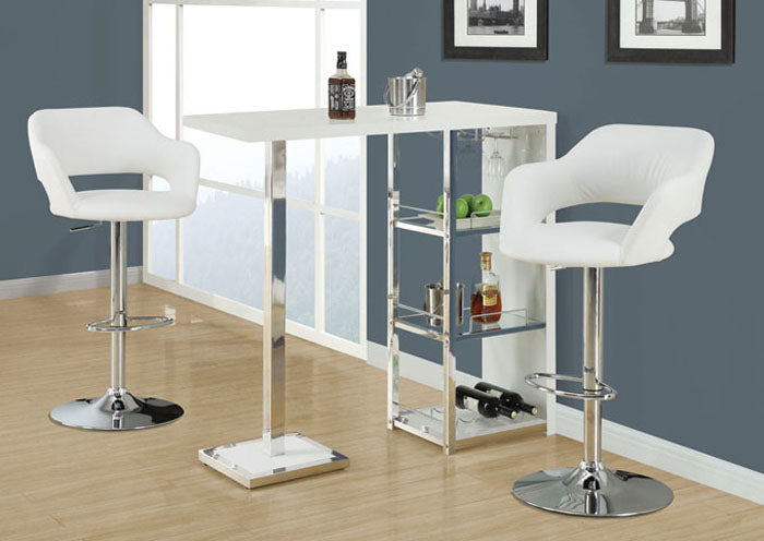 BARSTOOL - WHITE / CHROME METAL HYDRAULIC LIFT