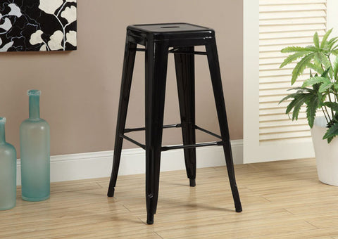"BARSTOOL - 2PCS / 30""H / BLACK GLOSSY METAL CAFE"