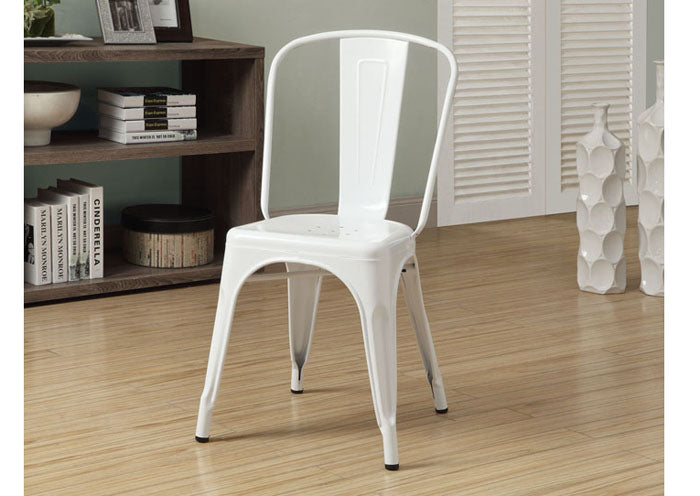 "DINING CHAIR - 2PCS / 33""H / WHITE GLOSSY METAL"