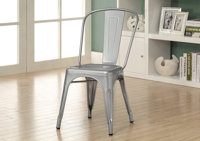 "DINING CHAIR - 2PCS / 33""H / SILVER GALVANIZED METAL"