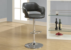 BARSTOOL - CHARCOAL GREY / CHROME METAL HYDRAULIC LIFT