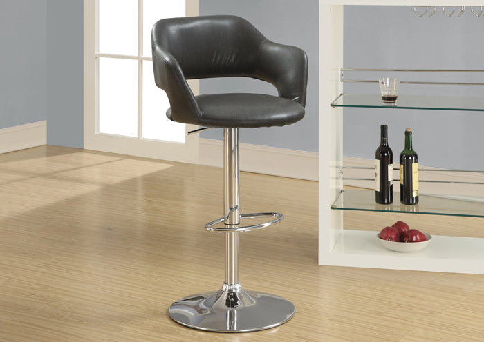 I 2441 - BARSTOOL - CHARCOAL GREY / CHROME METAL HYDRAULIC LIFT