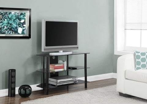 "I 2506-TV STAND - 36""L / BLACK METAL WITH TEMPERED BLACK GLASS"