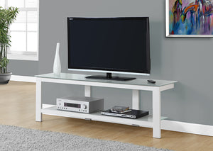 "I 2510-TV STAND - 60""L / WHITE METAL WITH FROSTED TEMPERED GLASS"