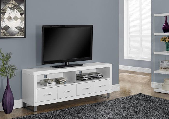 "I 2518-TV STAND - 60""L / WHITE WITH 4 DRAWERS"