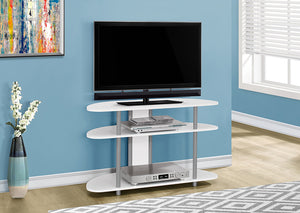 "I 2522-TV STAND - 38""L / WHITE WITH SILVER ACCENT"