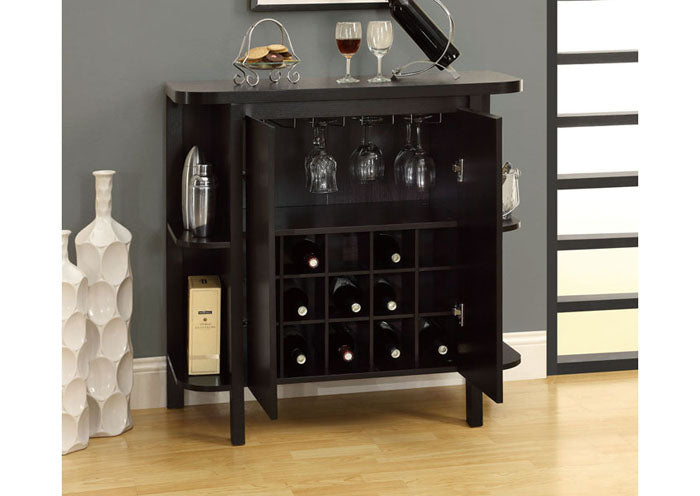 "HOME BAR - 36""H / CAPPUCCINO WITH BOTTLE / GLASS STORAGE"