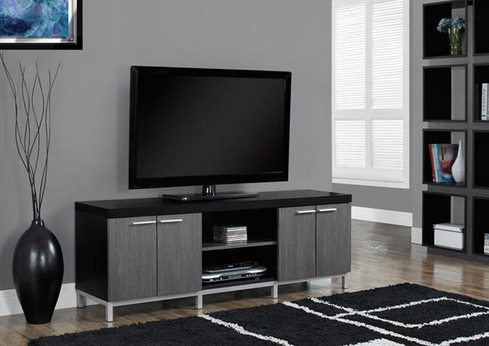 "I 2590-TV STAND - 60""L / BLACK / GREY"