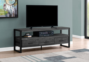 "I 2823 - TV STAND - 60""L / BLACK RECLAIMED WOOD-LOOK / 3 DRAWERS"