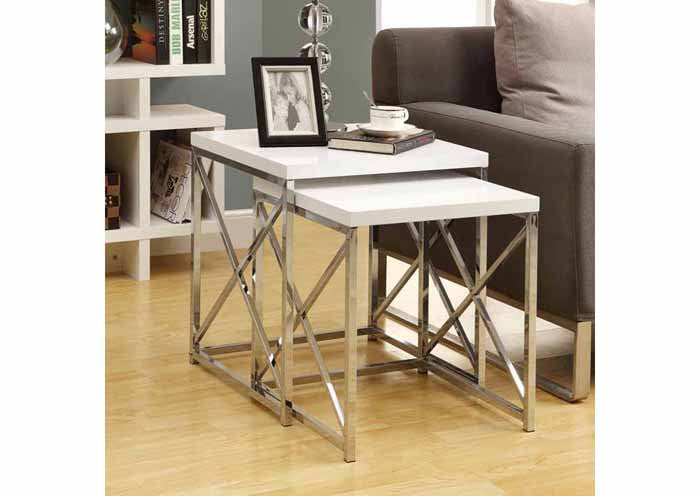I 3025-NESTING TABLE - 2PCS SET / GLOSSY WHITE / CHROME METAL