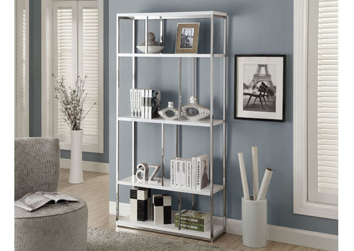 "BOOKCASE - 72""H / GLOSSY WHITE WITH CHROME METAL"