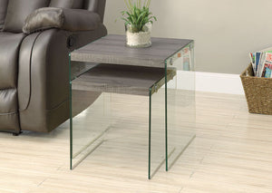 I 3053-NESTING TABLE - 2PCS SET / DARK TAUPE / TEMPERED GLASS