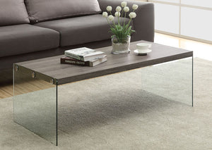 I 3054-COFFEE TABLE - DARK TAUPE WITH TEMPERED GLASS