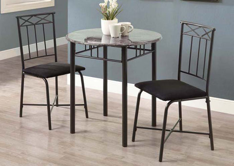 I 3065-DINING SET - 3PCS SET / GREY MARBLE / CHARCOAL METAL
