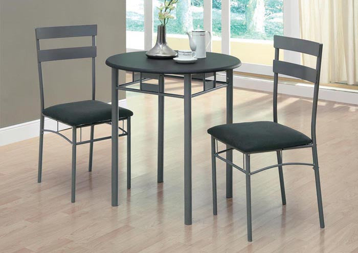 I 3095- DINING SET -3 PCS / BLACK / SILVER METAL