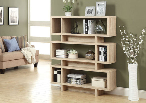 "BOOKCASE - 55""H / NATURAL MODERN STYLE"