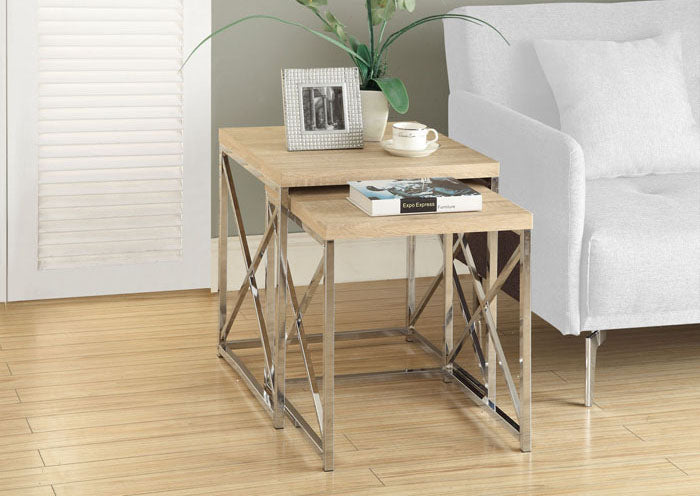 I 3205-NESTING TABLE - 2PCS SET / NATURAL WITH CHROME METAL