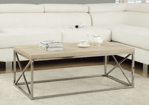I 3208-COFFEE TABLE - NATURAL WITH CHROME METAL