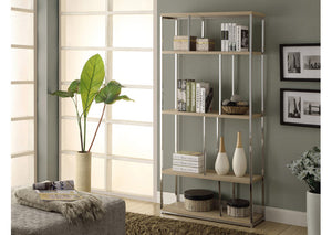 "BOOKCASE - 72""H / NATURAL WITH CHROME METAL"