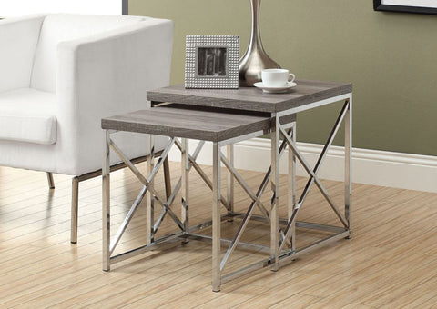 I 3255-NESTING TABLE - 2PCS SET / DARK TAUPE WITH CHROME METAL