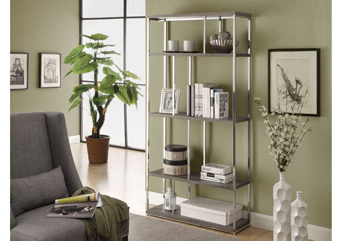 "BOOKCASE - 72""H / DARK TAUPE WITH CHROME METAL"