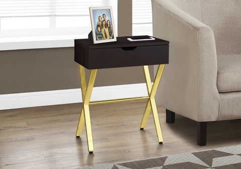 "I 3261 - ACCENT TABLE - 24""H / ESPRESSO / GOLD METAL"