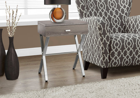 "I 3263 - ACCENT TABLE - 24""H / DARK TAUPE / CHROME METAL"