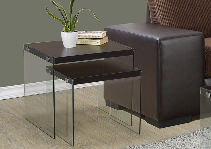I 3281-NESTING TABLE - 2PCS SET / CAPPUCCINO / TEMPERED GLASS